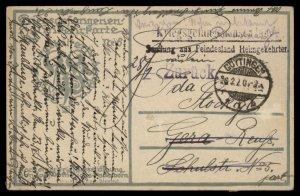 Germany 1920 WWI POW Returning Home Cover aus Feindesland Goettingen 95554