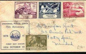 TRINIDAD First Day Cover UPU Anniversary FDC Port of Spain 1949{samwells}PB229