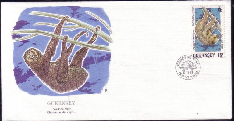 Guernsey FDC SC# 416 Two Toed Sloth L43