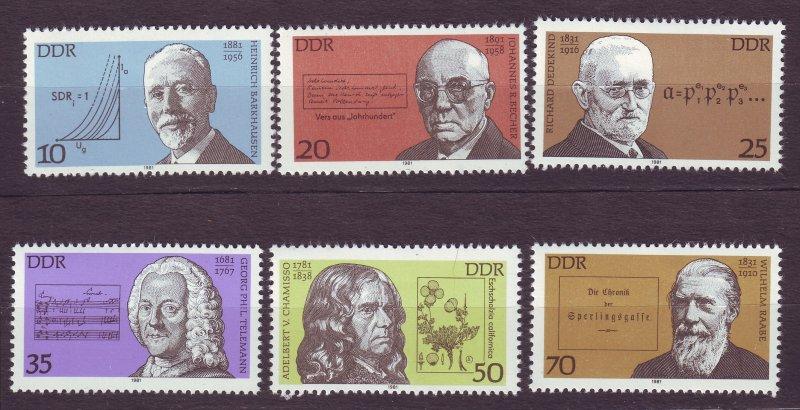 J23236 JL stamps 1981 DDR germany set mnh #2179-84 famous men
