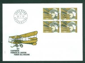 Switzerland. Flight Cover 1977. 4-Block. Aviation Pioneer A. Dufaux. Sc# 622.