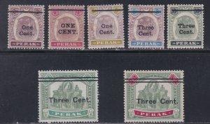 Malaya - Perak # 62-68, Revalued Stamps, No Gum, 1/3 Cat.