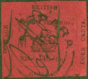 British Guiana 1856 4c Black/Magenta SG24 Very Fine & Fresh Looking Cut Squar...