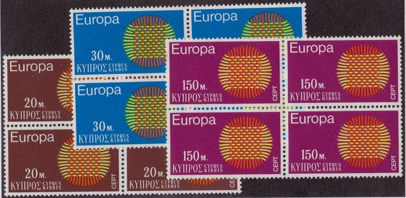 CYPRUS MNH Scott # 340-342 EUROPA Blocks (12 Stamps) -2