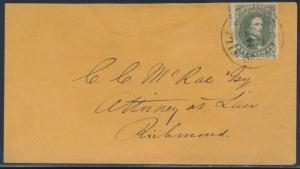 CSA #1 XF-SUPERB USED ON COVER WILMINGTON, N.C. TO RICHMOND, VA BT8681