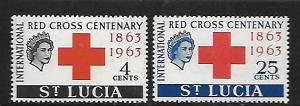 ST. LUCIA, 180-181, MNH, RED CROSS CENTENARY