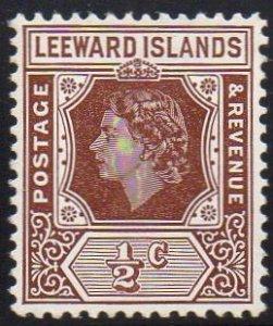 Leeward Islands 1954 ½c brown MH