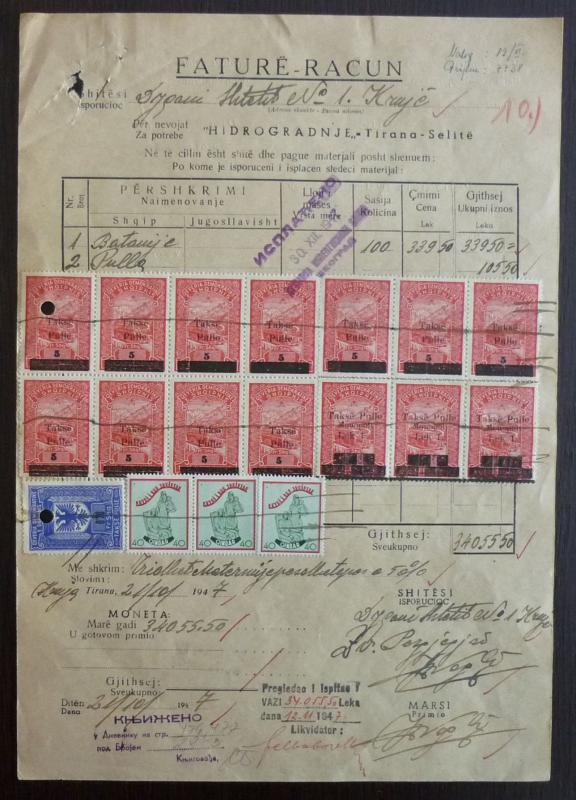ALBANIA-ATTRACTIVE DOCUMENT WITH REVENUE STAMPS R! italy albanien kosovo J3