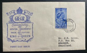 1948 Mbabane Swaziland First Day Cover FDC Royal silver Wedding King George VI