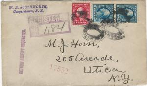 U.S., 2c and 5c Washington pair, Used on 1915 Registered Cover, Many Markings