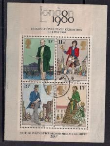 GB 1979 QE2 Rowland Hill M/S Used 4 x Stamps MS 1099 ( E353 )