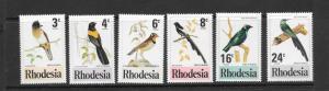 BIRDS - RHODESIA #375-380  MNH
