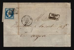 France 1864 Cover Apres Le Depart Stamped - Z15717