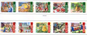 Jersey  Sc 1011-12a-e 2001 Christmas Singles stamp set used