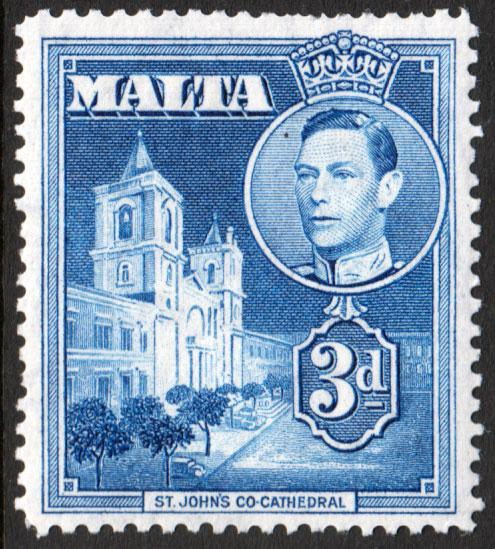Malta KGVI 1938 3d Blue SG223a Mint Never Hinged