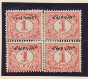 Netherlands Stamp Scott #O1, Mint Hinged, Block of 4 - Free U.S. Shipping, Fr...