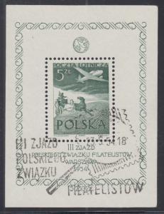 Poland Sc C34 used. 1954 Congress of Polish Philatelic Organization souv sheet