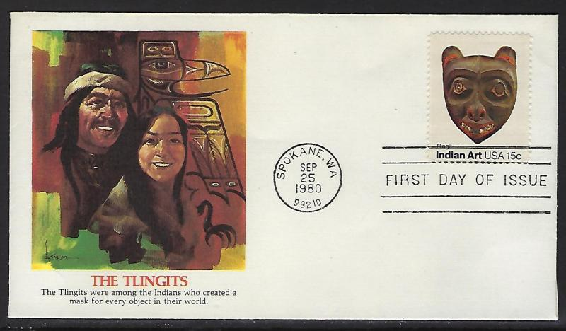 FDC First Day Cover  #1836 Indian Masks Tllingits Northwest Tribe Fleetwood Cach