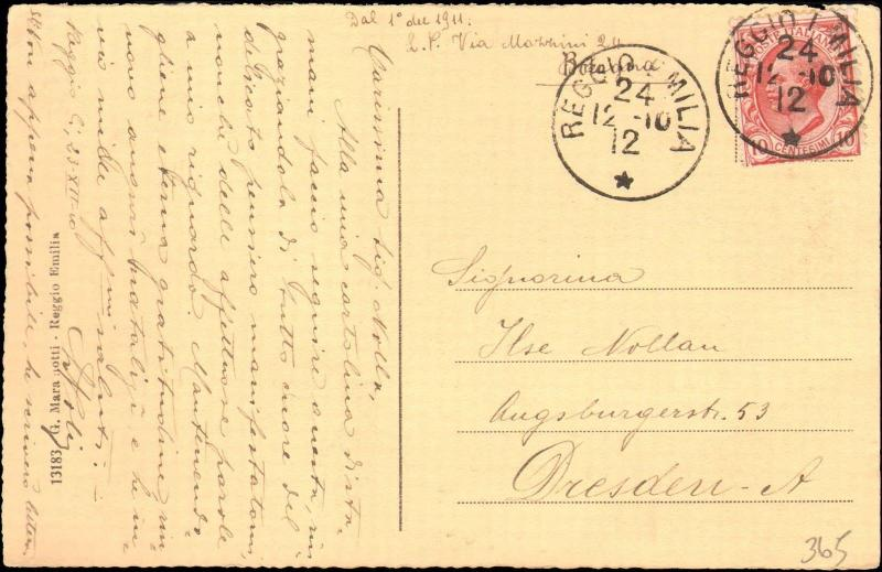 1912 ITALY SINGLE ON POSTCARD TO GERMANY
