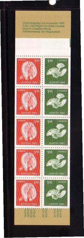 Sweden Sc 1391a 1981 Christmas stamp bklt pane mint NH