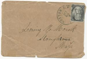 US Scott #73 Blackjack Tied to Wrapper Black CDS Boston, MA Oct 23, 1863