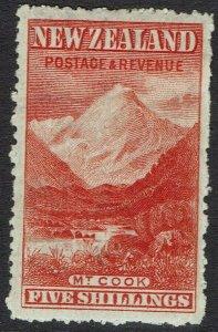 NEW ZEALAND 1902 MOUNT COOK 5/- WMK STAR NZ PERF 14