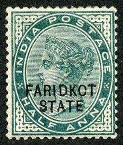 ICS FARIDKOT SG1v 1/2a Deep Green Variety KCT Feb 1894 printing (thin) M/M