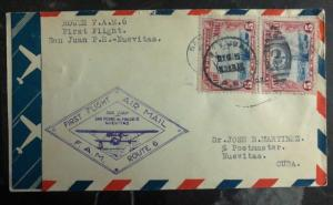 1929 San Juan Puerto Usa first flight cover FFC To Nuevitas FAM 6