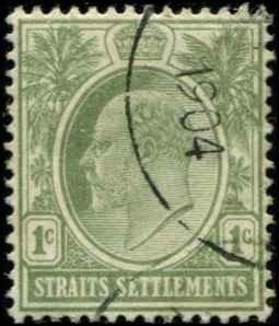 Straits Settlements SC# 105 Edward VII wmk 2 1c Used