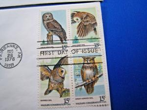 U.S. FIRST DAY COVER SETS - SET of 5 - 1978 AMERICAN OWLS   (FDC-23x)