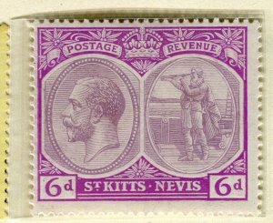 ST. KITTS; 1920-22 early GV portrait issue Mint hinged 6d. value