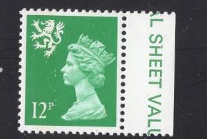 Great Britain Scotland  #SMH18 12p MNH Q E II   Machin bright green  13 1/2 x14