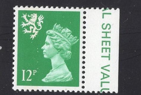 Great Britain Scotland  #SMH18 12p MNH Q E II   Machin bright green  13 1/2 x14