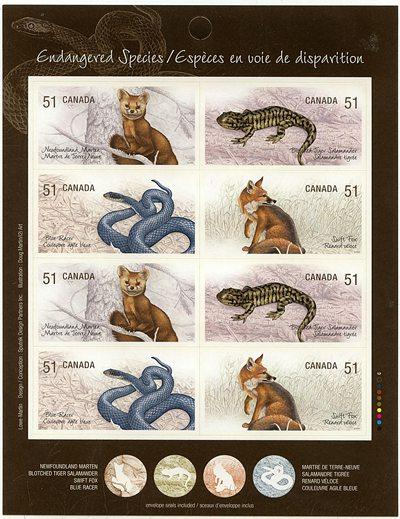 Canada USC #BK335 - 2006 Endangered Species Booklet of 8 Four Diff. Face $4.08