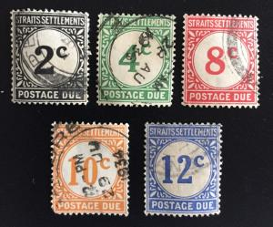 Malaya Singapore 1924 Straits Settlements Postage Due 5V Used SG#D2-D6 M1669