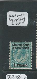 MOROCCO  (P2402B) KGV 1F/10D  SG 199  MOG
