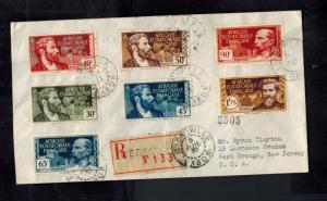 1937 Libreville AOF Registered Cover to USA Multi Franked