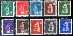 Croatia -  Scott #B42 to 51 - Semi-Postals - Surtax for Croatian Red Cross - MNH