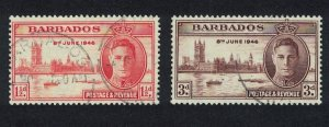 Barbados World War II Victory 2v canc SG#262-263