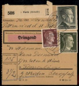 Germany SS Mann Guard Concentration Camp KL Floessenbuerg Package Card Fue 79467