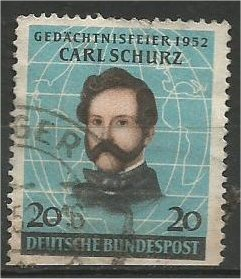 GERMANY, 1952, used 20pf, Carl Schurz Scott 691