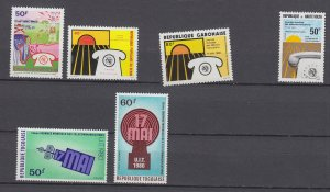 J29191, ca1980 dif countries africa sets of 1 & sets communications mnh #