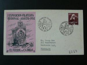 philatelic exposition Ferrol des Caudillo 1952 cover Spain 81726