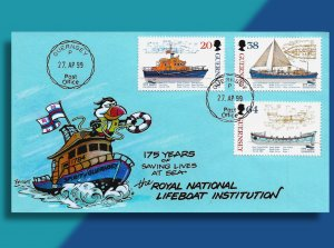 Guernsey Lifeboats to the Rescue!!  Handcolored Puffin Cachets FDC from 1999