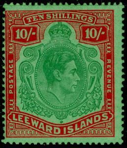 LEEWARD ISLANDS SG113c, 10s deep green & deep vermilion/grn, M MINT. Cat £120.