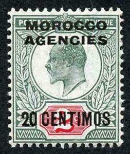 Morocco Agencies SG115 1907 20c 0n 2d Pale grey-green and carmine red U/M