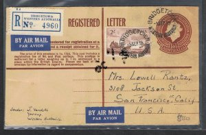 1953 QEII 1/0½d reg'd envelope used to USA in 1955 uprated with 2/- Cobb NS726
