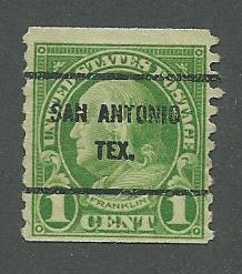 1923 USA San Antonio, Tex.  Precancel on Scott Catalog Number 597