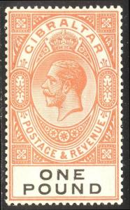 GIBRALTAR #92 Mint - 1921 £1 Orange & Black