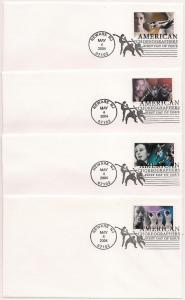 US#3840 to #3843 - Amer. Choreographers - First Day Covers